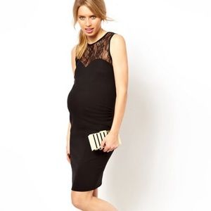 🌵New ASOS Black Bodycon Lace Maternity Dress